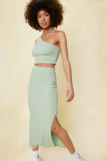 Sage Ribbed High Waisted Split Hem Midi Skirt
