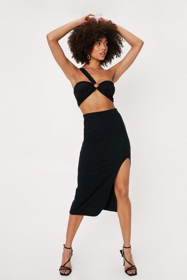 Black Ribbed Split Hem Midi Skirt