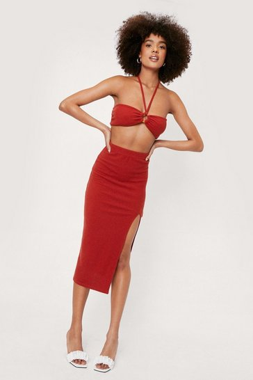 Brick red Ribbed Split Hem Midi Skirt