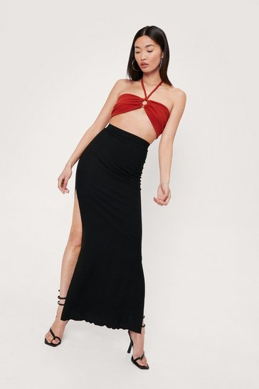 Black Ribbed Ruffle Split Hem Maxi Skirt