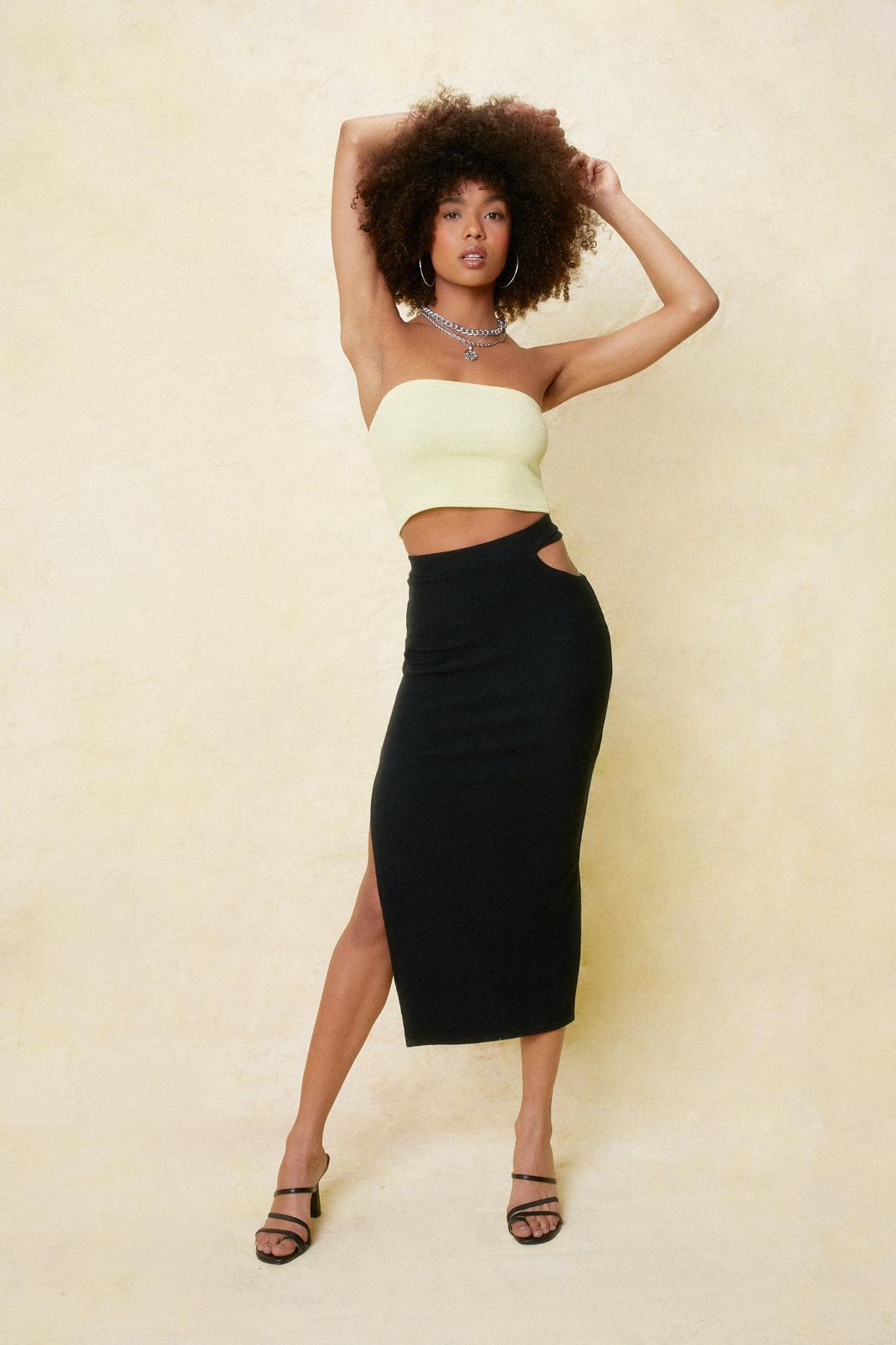 High Waisted Cut Out Midi Skirt | NastyGal