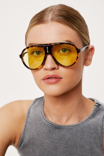 Brown Tinted Aviator Tortoiseshell Round Sunglasses