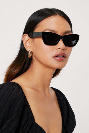 Black Angled Tinted Cat Eye Sunglasses