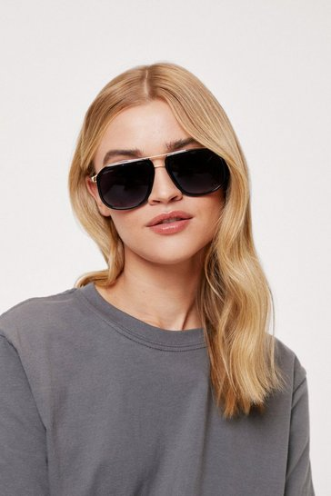 Black Tinted Oversized Aviator Sunglasses