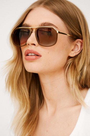 Light brown Tinted Oversized Aviator Sunglasses