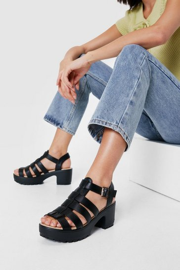 Black Strappy Open Toe Cleated Heeled Sandals