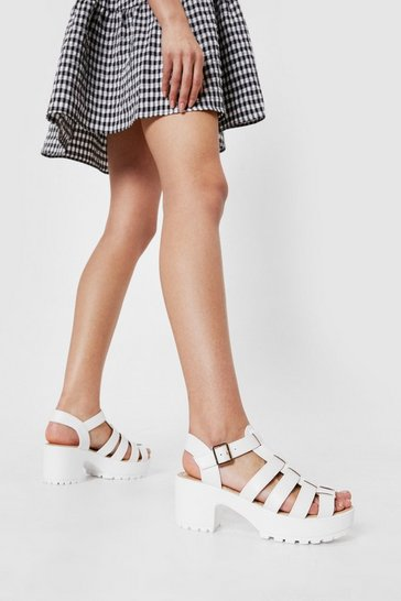 White Strappy Open Toe Cleated Heeled Sandals
