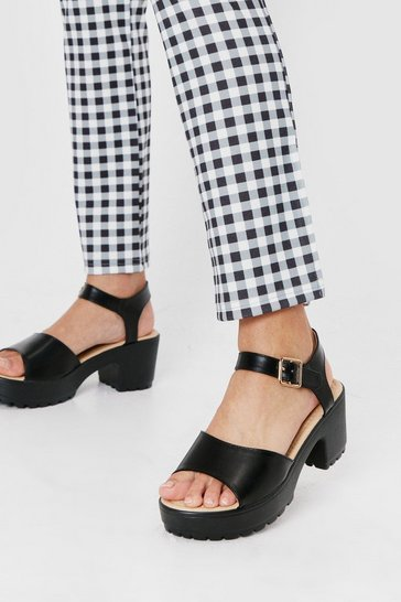 Black Faux Leather Chunky Platform Sandals