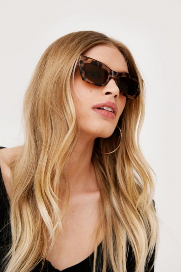 Light brown Light Tort Angled Cat Eye Sunglasses