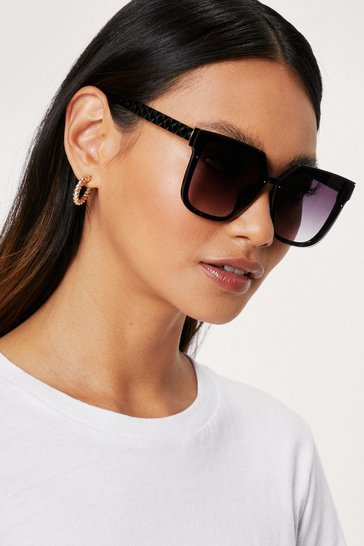 Black Tinted Square Cat Eye Sunglasses