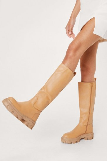 Mustard Faux Leather Cleated Knee High Boots
