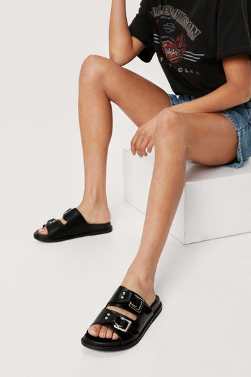 Black Faux Leather Square Buckle Footbed Sandals