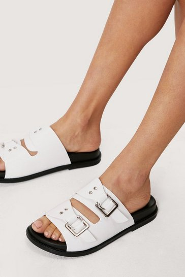White Faux Leather Square Buckle Footbed Sandals