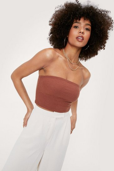 Chocolate Ribbed Strapless Crop Top