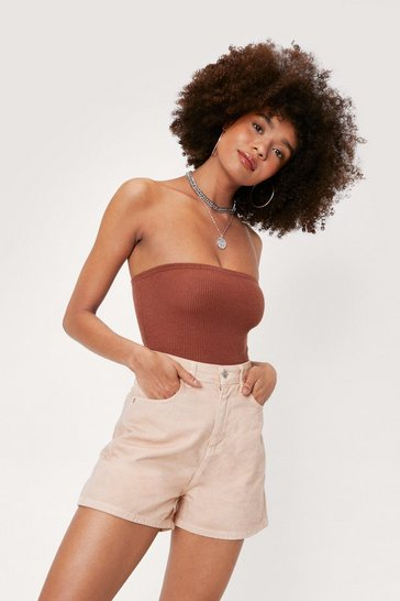 Chocolate Ribbed Strapless High Leg Bodysuit