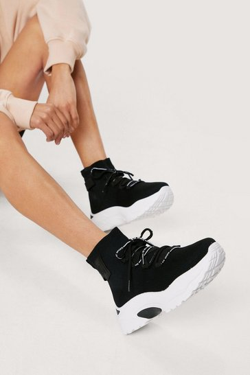 Black Knitted Chunky Lace Up Platform Sneakers