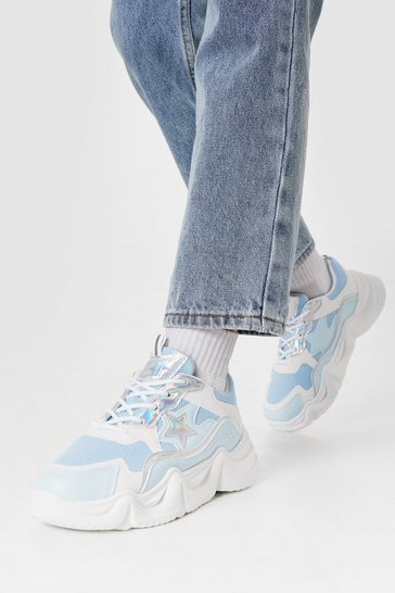 Blue Mixed Fabric Star Design Chunky Sneakers