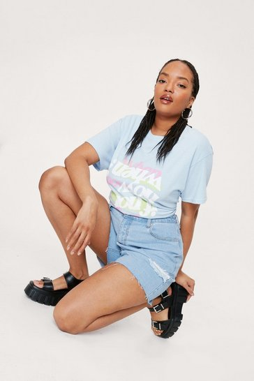 Baby blue Plus Size If Not Now Graphic T-Shirt