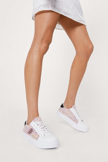 Pink Boucle Lightening Flatform Sneaker