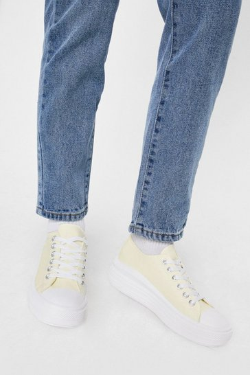 Yellow Canvas Flatform Lace Up Sneakers