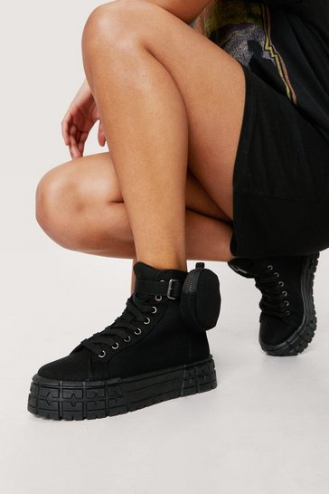 Black Canvas High Top Pocket Sneakers