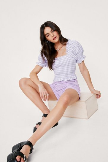 Lilac Gingham Print Shirred Puff Sleeve Crop Top