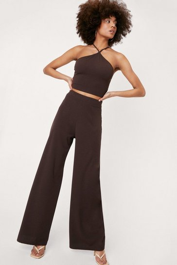 Chocolate Strappy Crop Top and Wide Leg Pants Set