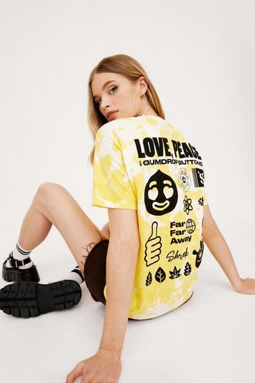 Yellow Love and Peace Tie Dye Graphic T-Shirt