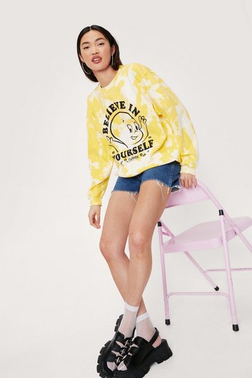 Yellow Casper Graphic Tie Dye Print Sweatshirt