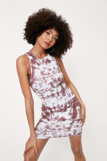 Ecru Ribbed Racerback Tie Dye Print Mini Dress