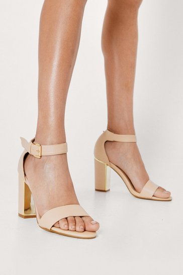 Nude Gold Trim Two Part Heels