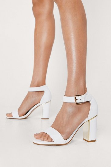 White Gold Trim Ankle Strap Heels