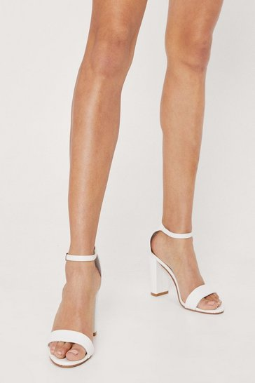 White Faux Leather Strappy Block Heeled Sandals