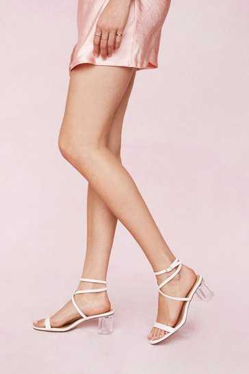 White Faux Leather Strappy Clear Block Heels