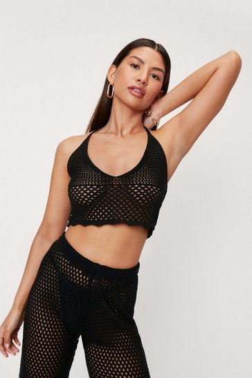 Black Crochet Halter Neck Beach Cover Up Top