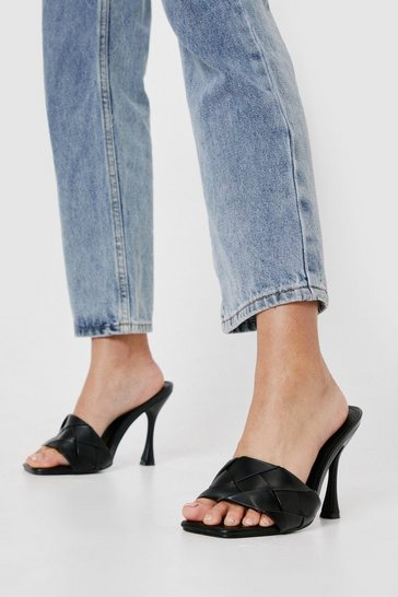 Black Wide Fit Faux Leather Woven Heeled Mules