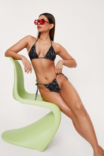 Black Marble Print Ruched Triangle Bikini Set