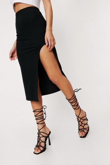Black Strappy High Ankle Open Toe Stiletto Heels