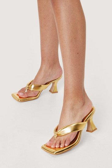 Metallic gold Faux Leather Toe Thong Heeled Mules