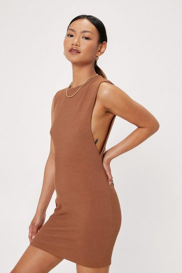 Chocolate Petite Ribbed Dropped Armhole Mini Dress