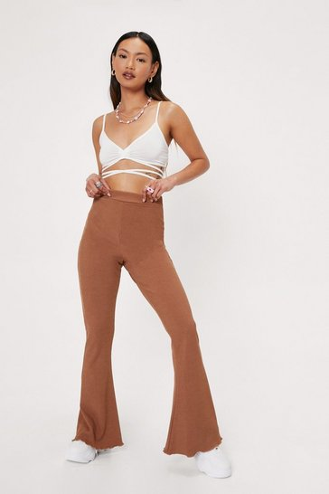 Chocolate Petite Ribbed Lettuce Hem Flared Pants