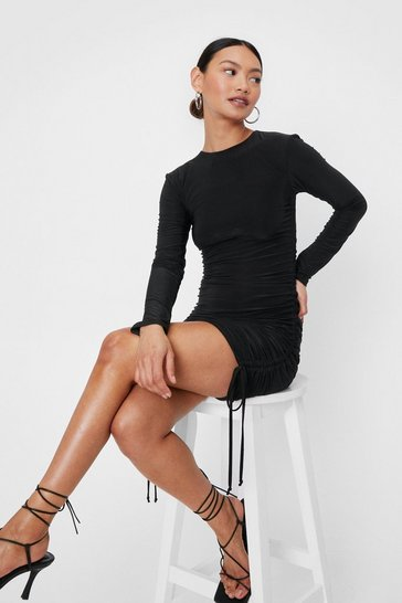 Black Petite Ruched Long Sleeve Mini Dress