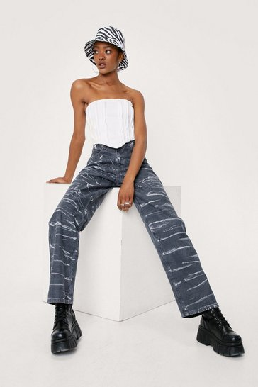 Grey Tie Dye Print High Waisted Straight Leg Jeans