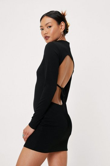 Black Petite Open Back Tie High Neck Mini Dress
