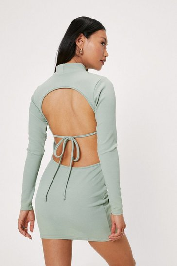 Sage Petite Open Back Tie High Neck Mini Dress