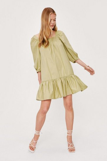 Green Shirred Oversized Square Neck Mini Dress