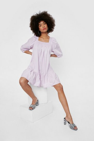 Lilac Shirred Oversized Square Neck Mini Dress