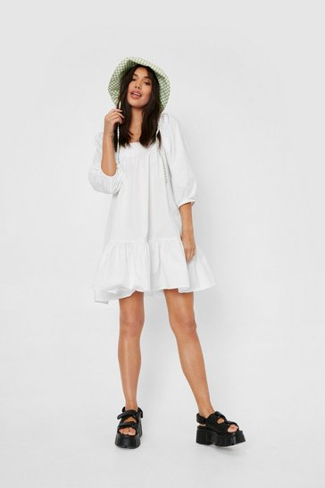 White Shirred Oversized Square Neck Mini Dress