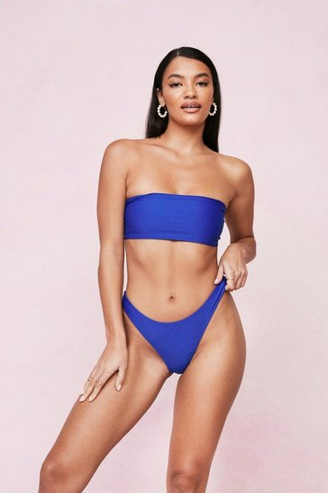 Cobalt Low Rise High Leg Bikini Bottoms