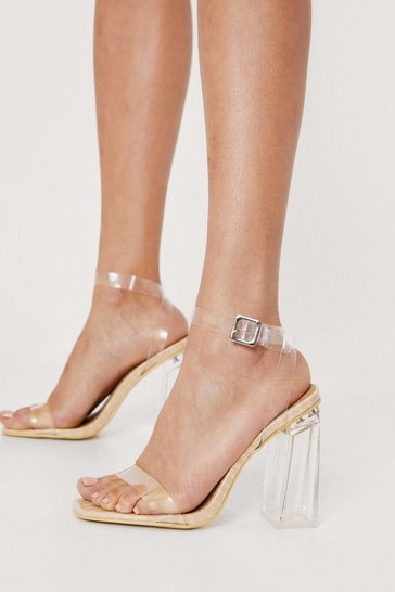 Nude Clear Faux Leather Croc Heeled Sandals